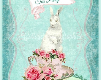 Tea Party Bunny pink roses digtial printable download BUY 3 get one FREE ecs svfteam