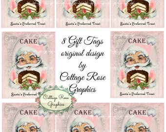 Pink Santa favorite treat is cake tags digital download ATC ACEO gift tags ECS buy 3 get one free
