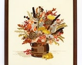 Large Framed Vintage Floral Crewel Embroidery