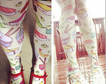 Cartoon Kawaii Sushi and Sashimi All Over Print Tights
