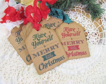 Christmas Gift Tags with ribbons - Set of 9 - Have Yourself a Merry Little Christmas hang tags rustic christmas