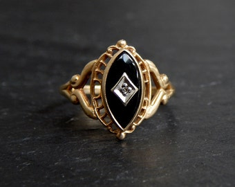 Black Onyx and Diamond Ring: 10k yellow gold, white gold diamond inset, size 7, Art Nouveau, Art Deco, 1930s, antique jewelry, 12x6 marquise