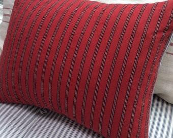 French Cottage/Down Pillow/Red Blue Ticking/Paris Shabby Chic/Stripe/Urban/Farmhouse/Decorative/Lumbar/Throw Pillow