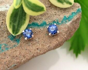 Lab Grown Sapphire Stud Earrings, Blue Earrings in Gold, Silver, or Platinum, 3mm