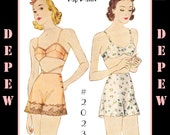 S612 Vintage Sewing Pattern Multi Size Reproduction 1930's Bra and Tap Pants #2023 - INSTANT DOWNLOAD