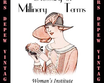 Vintage Millinery Book 1920's Glossary of Millinery Terms Ebook Hat Making How To -INSTANT DOWNLOAD-