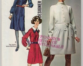 """1970's Vintage Sewing Pattern Ladies' Long Sleeve Dress Simplicity 8957 34"""" Bust- Free Pattern Grading E-book Included"""