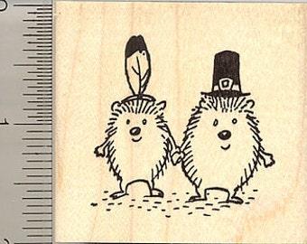 Thanksgiving Pilgrim Hedgehog Couple Rubber Stamp G10111 Wood Mounted