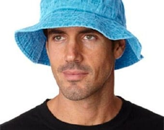 CARIBBEAN BLUE XL Bucket Hat - Women or Men Adams Cap - Price Apparel Embroidery - 10 Different Colors