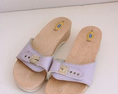 Vintage dr scholls ladies sandals wooden heel sandals lilac size 9