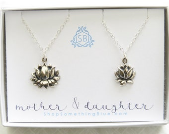 Mother & Daughter Lotus Necklaces • Zen Charms • Lotus Flowers • Buddhist Charm • Mother's Day Gift • Gift for Daughter • Flower Necklaces