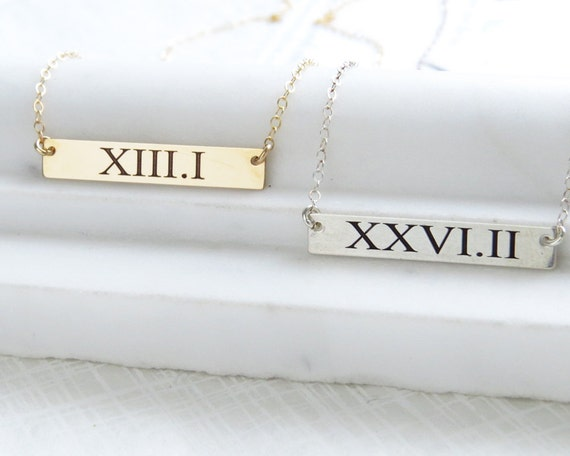 Bar Marathon Necklace Laser Engraved Roman Numerals Runners Necklace Marathon Jewelry Runner's Gift She Believed She Could Half Marathon