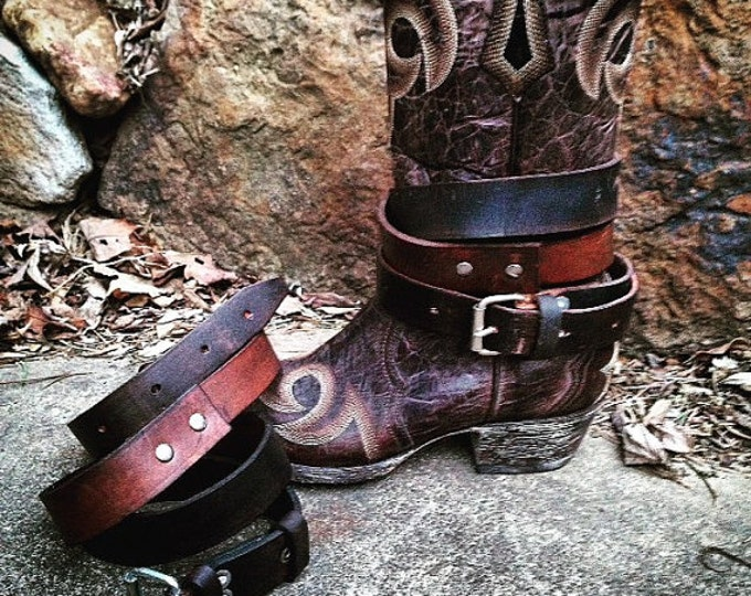 Extra Long Vintage Genuine Leather Adjustable Layered Boot Belts, Antiqued Black & Warm Chestnut Brown, OLD WEST BOHEMIAN, Boot Accessories
