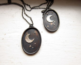 Moon and Stars Pendant   |||   copper and sterling silver oval pendant MADE TO ORDER