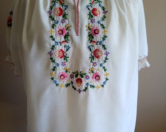 Delightful Floral Embroidered Peasant Top