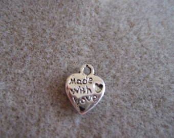 Small 'Made with Love' Charms- set of 30-Silver Tone