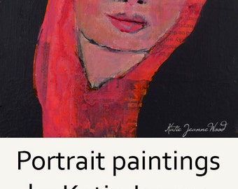 Acrylic Portrait Painting. Pink Mixed Media Art. Melancholy Woman. 6x6 Small Painting