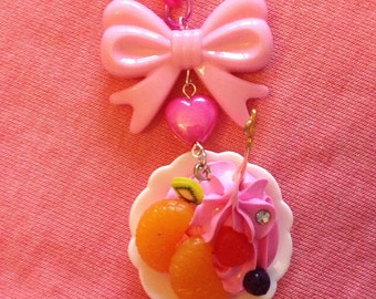 Pink Ice Cream Dessert Pink Chain Bow Necklace