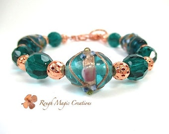 Emerald Lampwork Bracelet, Jewelry with Copper, Chunky Bracelet, Blue Green Teal Bumpy Beads, Toggle Clasp, May Birthstone Jewelry for Women