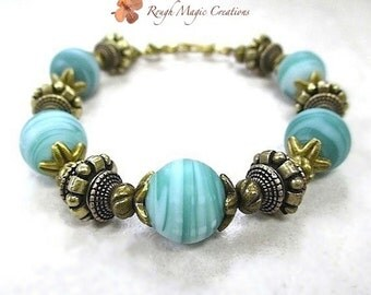 Chunky Bracelet, Aqua Blue Lampwork & Antique Brass, Summer Bracelet, Beachy Jewelry, Tropical Blue Green Beach Colors, Big Bold Beads  B253