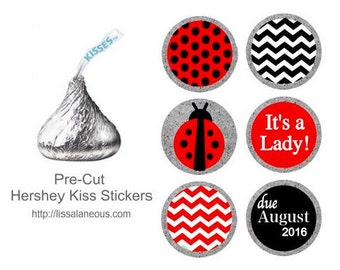 Ladybug Shower Favor - 88 Hershey Kiss Labels  - Stickers for Candy Kisses