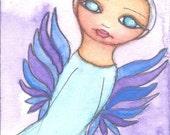 "Angelina Luna 2.5"" x 3.5"" Original Watercolor Painting on watercolor paper"