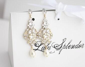 Wedding Chandelier Earrings Gold Wedding Earrings Pearl Dangle Earrings Vintage style Flower Earrings  AMY
