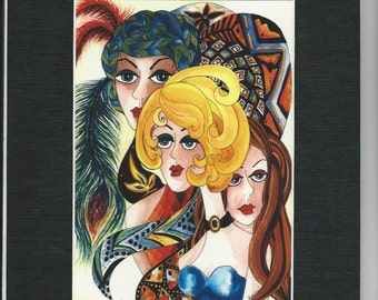 """Matted Archival Watercolor Print  """"Three Divas"""" Whimsical Ladies Faces on Etsy"""