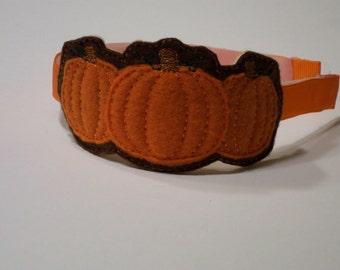 Thanksgiving Pumpkin Feltie Headband Felt Headband  Girls Headband Felt Oversized Feltie Halloween Fall Autumn Harvest Pumpkin Patch Hayride