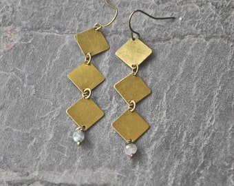 Labradorite Earrings, Brass Dangle Earrings, Labradorite Jewelry, Lightweight Dangle, Gemstone Jewelry