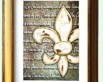 "Fleur de Lis Gold Framed Art ""Fleur de Lis Orléans"" 12.25 x 10.25"" and 16.25x13.25"" Matted Print Signed and Numbered"