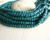 Green teal seed bead, green teal glass bead, small irregular barrel tube spacer, Modern Indo-pacific 3 to 6mm (22 inche strd) 6bb1-23