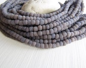 lilac grey glass seed beads,  lilac purple seed beads, small rustic tube barrel spacer , New Indo-pacific 3 to 6mm / 22 inch strd - 6BB1-20