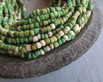mix seed beads, opaque green white glass  bead, gritty rustic  organic barrel rondelle Indonesian  bead - 1.5  to 4mm /  44 inch - 6bb5-5