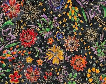 Lumina 2 Floral Black Peggy Toole Kaufman Fabric 1 yard