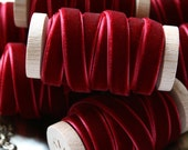 "Burgundy Velvet Ribbon, Wine Velvet Ribbon, Crimson Velvet Ribbon, 3/8"" Velvet Ribbon, Velvet Ribbon Spool, 3 yards, Burgundy Wedding"