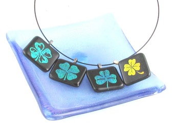 4 Leaf clover necklace - SHAMROCK dichroic fused glass pendant - PICK your favorite (4144-4145-4146-4147)