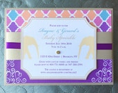 Moroccan Elephant Baby Shower Invitation, Colorful, Gold, Royal, Bollywood, indian invitations, Birthday party invite, bat mitzvah - Sample