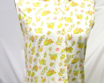 Vintage 1960's Blouse Cotton Sleeveless Shirt Peter Pan Collar Yellow Green Orange Pink & White Novelty Print
