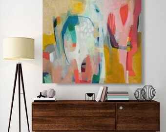 """Abstract painting, original painting,Modern Art, acrylic painting, canvas painting 28 x 36"""", colorful painting, geometric, canvas art"""