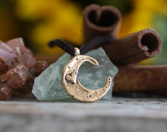 Love you to the moon and back Hand cast Solid Bronze or Golden Brass necklace