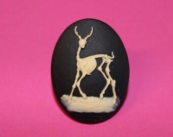 Large Black Deer Skeleton Cameo Ring