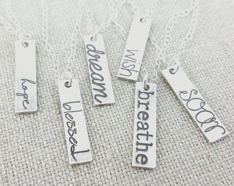 Inspirational Jewelry Necklace - Personalized Graduation Jewelry - Silver Bar Necklace - Personalized Necklace