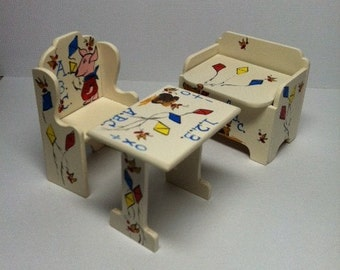 Dollhouse Miniature Baby's Room Hand Painted Winnie the Pooh and Piglet Chair, Table, Toy Box, Toys -- 1:12 scale