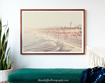 framed artwork, Sunny California print, framed beach photography, Santa Monica art print, framed wall art, beach house decor, gray, white