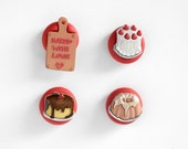 Pastry Chef Magnets Sweet Gourmet Strawberry Wedding Cake, Cream Pie, Bunt Cake Kitchen Decoration. Baked with Love.For Home, Office, School