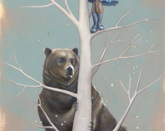 "Girl Climbing Tree Art, Brown Bear Fine Art Print, Mask Painting - ""The Lookouts"""