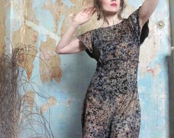 Mixed Metallic Print Dress, Black Jersey Dress, Tunic Dress, Cap Sleeve Dress, Little Black Dress, Organic Dress, Cotton Dress. Art Dress
