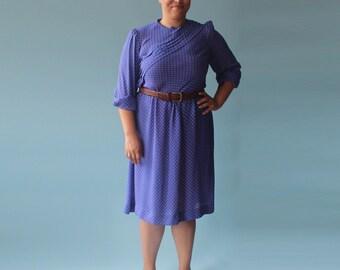 plus size dress | vintage blue floral plus size | 1980 XL