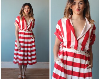 red stripe dress / red white stripe midi shirt dress / medium-large